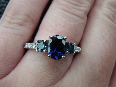 Blue Sapphire 3 Stone Engagement Ring
