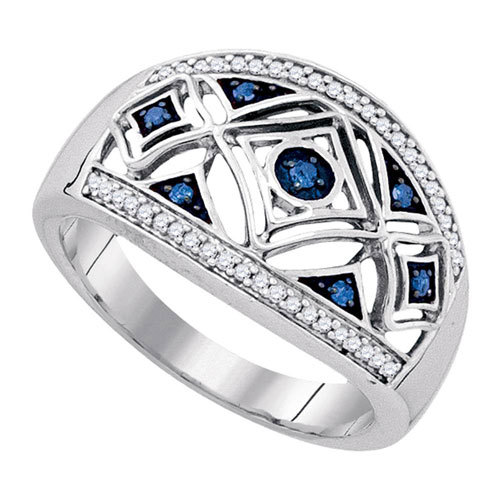 Sterling Silver and Blue Diamonds Ring $99