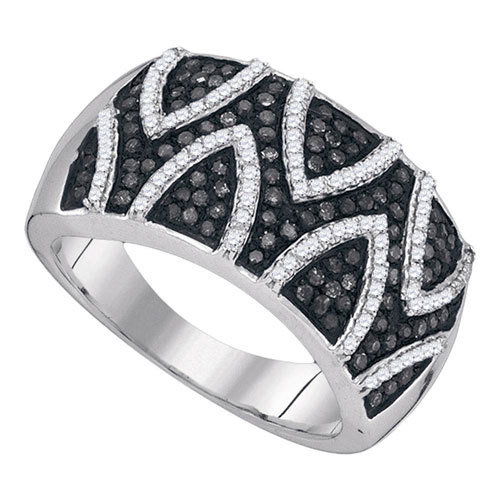 Sterling Silver, White and Black Diamonds $299